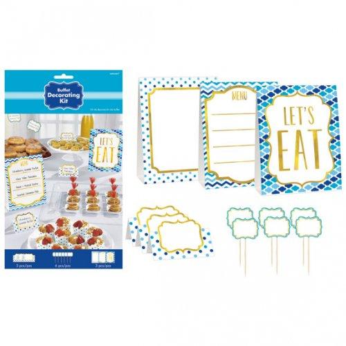 Kit decorazione buffet Nuvole, Spina di pesce e Pois blu Snacky