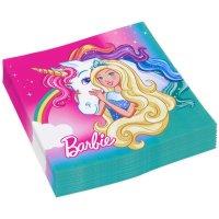 Contiene : 1 x 20 Tovaglioli Barbie Unicorno
