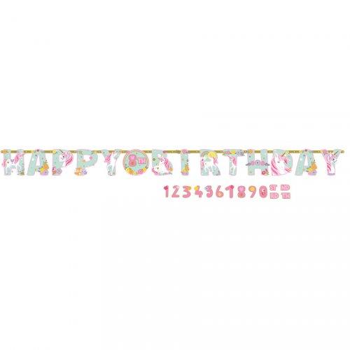 Ghirlanda gigante Happy Birthday unicorno magico - Età personalizzabile