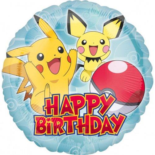 Palloncino piatto Pokemon Happy Birthday