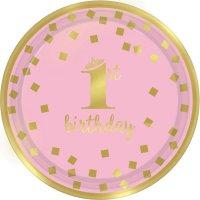 Contiene : 1 x 8 Piattini Royal Birthday 1 - Rosa