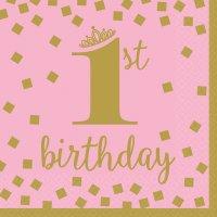 Contiene : 1 x 16 Tovaglioli Royal Birthday 1 - Rosa