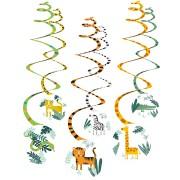 6 festoni a spirale animali della giungla