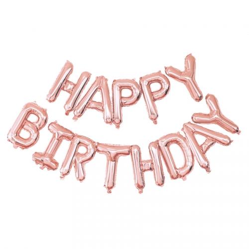 Palloncino Happy Birthday Rosa Dorato (305 cm)