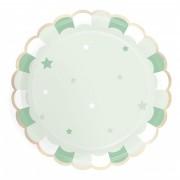 8 Piatti Verde Pastello - Stelle