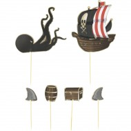 6 Cake Toppers - Pirata