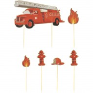 6 Cake Toppers - Pompieri
