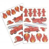 2 Fogli di 25 Adesivi - Pompieri