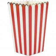 8 Scatole per Popcorn Rosso/Bianco/Oro