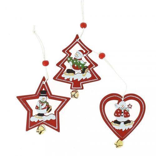 3 Addobbi Natalizi Albero di Natale/Cuore/Stella con Sonaglino (7 cm) - Legno