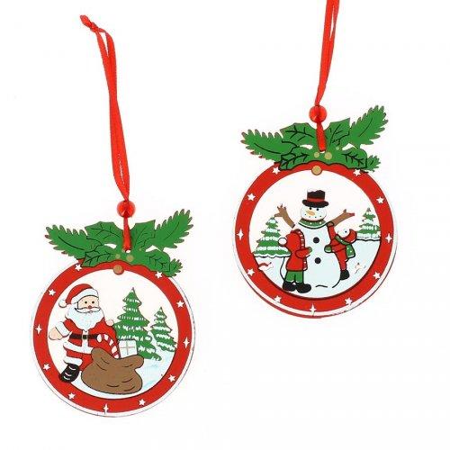2 Addobbi Natalizi Babbo Natale e Pupazzo di Neve (8 cm) - Legno