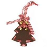 Addobbo Natalizio Grande Albero di Natale con Campanellini (10 cm) - Legno