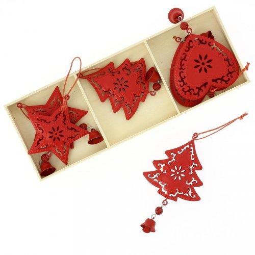 6 Addobbi Natalizi Cuore/Stella/Albero di Natale Rosso (6 cm) - Metallo