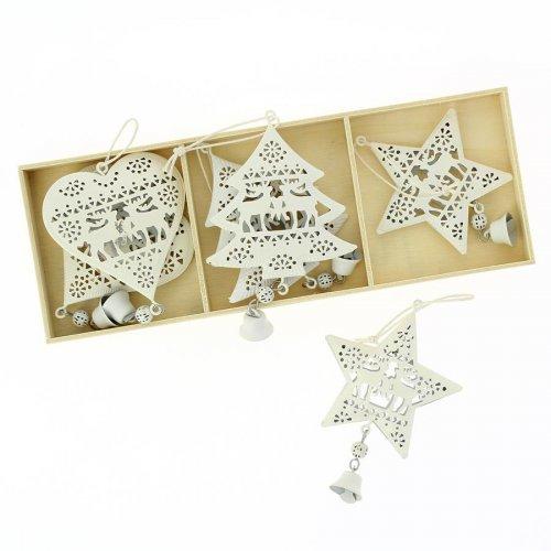 6 Addobbi Natalizi Cuore/Stella/Albero di Natale Bianco (6 cm) - Metallo