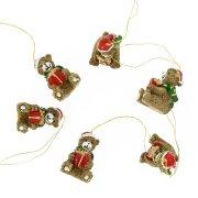 6 Mini orsetti di Natale da appendere (3 cm) - Resina