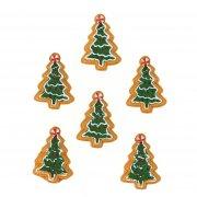 6 Adesivi Mini Biscotti a forma di abete (3,5 cm) - Resina