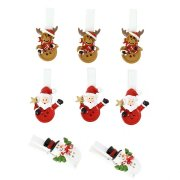8 Pinze Amici di Natale (4,5 cm) - Resina