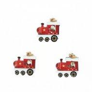18 Mini Adesivi Treno Rosso e Renna (2 cm) - Resina