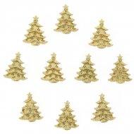 10 Mini Adesivi Abete Oro (3,5 cm) - Resina