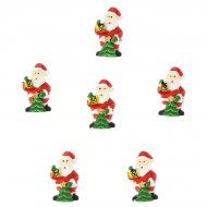 6 Mini Babbo Natale adesivi (3 cm) - Resina