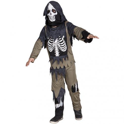 Costume Scheletro Zombie Con Cappuccio