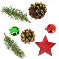 Kit Decorazione Creativa Pigne, Palle, Stella - Rosso/Verde