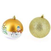 6 Palline Decorate e Glitterate (8 cm) - Dorate