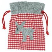 Gift Bag Renna Grigia (18 cm) - Feltro e Stoffa