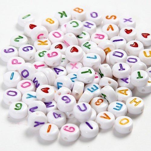 Perle piatte dell alfabeto multicolore (6 mm)
