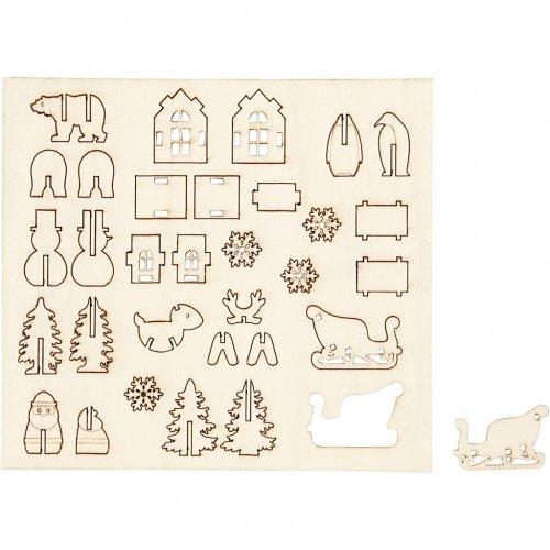13 Mini Decorazioni in Legno da Assemblare e Decorare