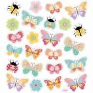 Foglio 24 Adesivi Farfalle e Coccinelle