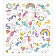 Foglio 31 Adesivi Unicorni Pastello