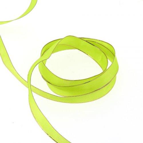 Nastro tinta unita Verde anice con bordo oro (1,5 cm - 2 m)