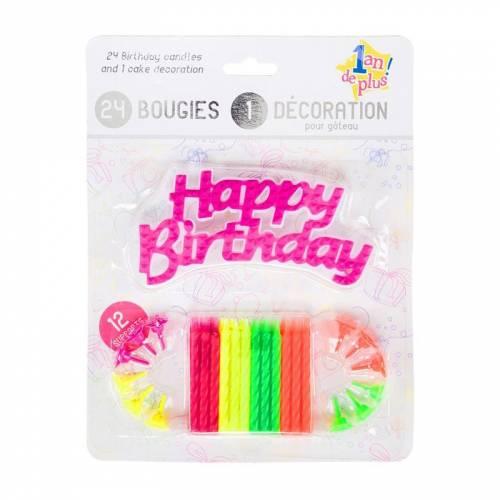 24 candele e 1 decorazione Happy Birthday