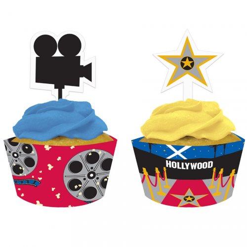 Kit 12 Wrapper e Decorazioni per cupcake Star di Hollywood
