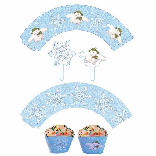 Kit 12 Pirottini e decorazioni Cupcakes Fiocchi di neve