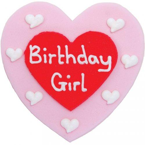 """Grande cuore """"Birthday Girl"""" in pasta di zucchero"""