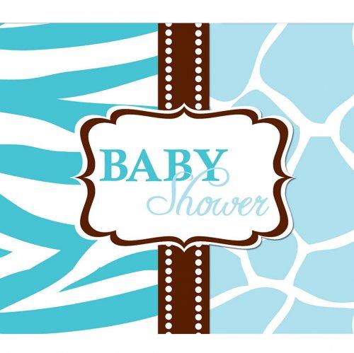 8 Inviti Baby Safari Azzurro