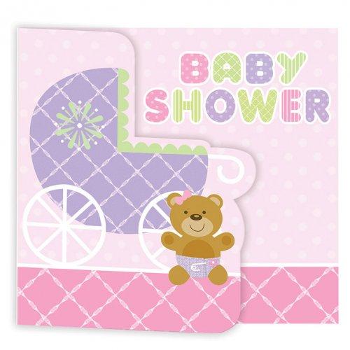 8 Inviti Baby Teddy Rosa