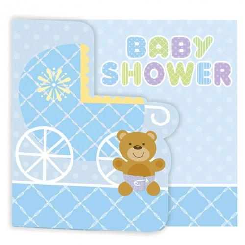 8 Inviti Baby Teddy Azzurro