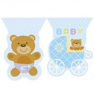 Ghirlanda bandierine Baby Teddy blu