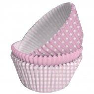 75 Pirottini per cupcake rosa/bianco