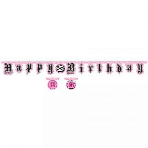 Ghirlanda lettere Happy Birthday Girly Fashion