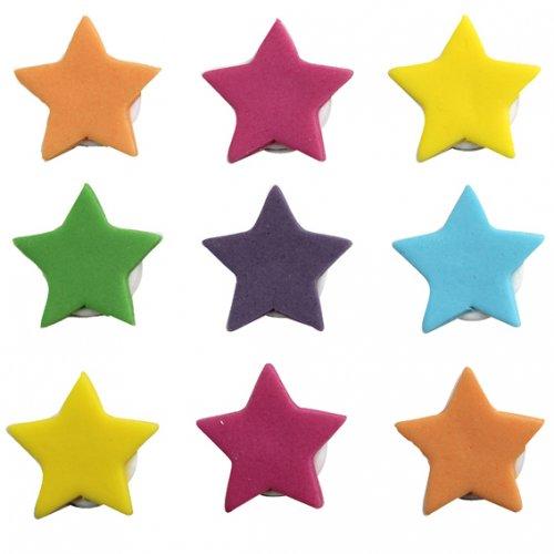 """9 Decorazioni in pasta di zucchero """"Stella multicolore"""""""