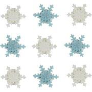 9 Fiocchi di Neve di zucchero Bianco/Blu