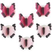 6 Piccole farfalle piccole rosa/fucsia (2,5 cm) - Pasta di zucchero
