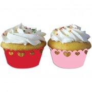 12 Wrapper Cupcake cuori rosa/rosso