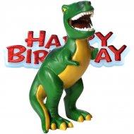 """Statuetta con dinosauro """"Happy birthday"""""""