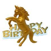 """Statuetta con unicorno """"Happy birthday"""" - Oro"""