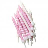 12 Candele a pois e righe rosa